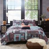 Josie Woodblock Patchwork Reversible Quilted 5 Piece Set, Full/Queen