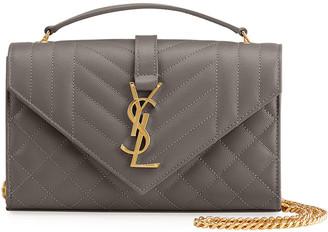 Saint Laurent Small Monogram Leather Satchel Bag