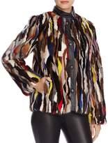 Maximilian Furs Leather Trim Patchwork Saga Mink Fur Coat - 100% Exclusive