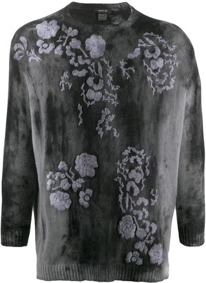 Avant Toi Floral-Embroidered Tie-Dye Jumper