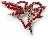 Avalaya Bright Red Crystal Butterfly And Heart Brooch (Silver Tone)