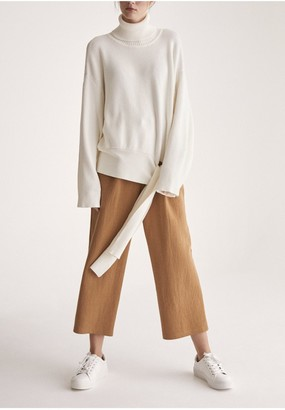 Paisie Oversized Roll Neck Jumper with Wrap Tie Waist in White