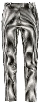 Racil Aries Cropped Houndstooth-check Tweed Trousers - Black White
