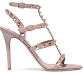 Valentino Rockstud Embellished Leather Sandals - Blush