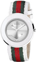 Gucci Watch Strap and Bezel, Women's U-Play Silver Guccisima Leather 35mm YFA50033