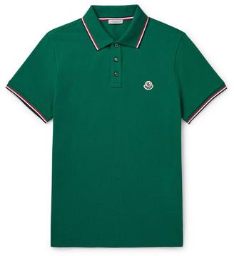 Moncler Contrast-Tipped Cotton-Pique Polo Shirt