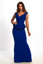 Pink Boutique Met Gala Goals Blue Plunge Peplum Wrap Bodycon Maxi Dress