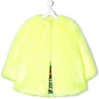 Msgm Kids Embellished Logo Faux Fur Coat