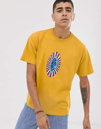 Obey Psyche t-shirt with chest logo in yellow