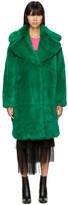 MSGM Green Long Faux Fur Coat