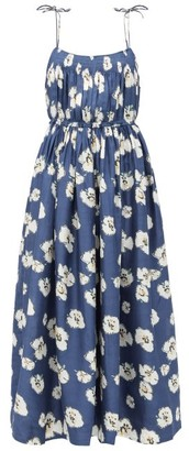 Apiece Apart Cecile Floral-print Silk Dress - Navy Multi