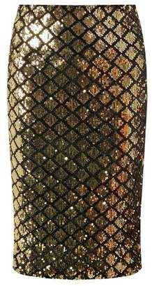 Dorothy Perkins Womens Gold And Black Diamond Sequin Pencil Skirt, Gold