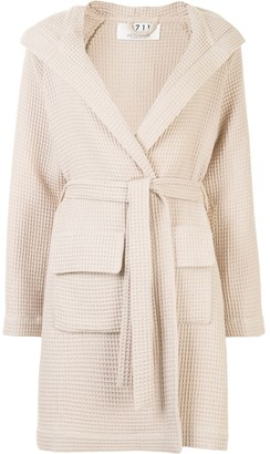 0711 Waffle-Knit Hooded Robe