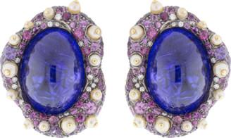 Arunashi Cabochon Tanzanite Stud Earrings