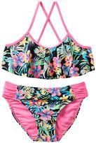 Girls 7-16 SO® Multi-Colored Tropical Flower Flounce Top 2-pc. Bikini Swimsuit Set