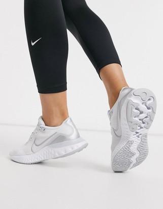 Nike Running Renew Run sneakers in white