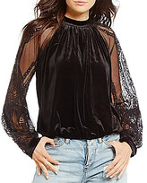Free People Dream Team Velvet Burnout Blouse