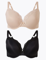 Marks and Spencer 2 Pack Lace Trim Padded Plunge T-Shirt Bras DD-G