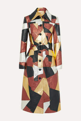 Michael Kors Belted Patchwork Metallic Leather Coat - Gold
