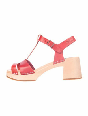 Swedish Hasbeens Leather Cutout Accent T-Strap Sandals Red