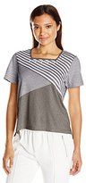 Alfred Dunner Women's Petite Assymetrical Stripe Knit Top
