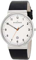 Skagen Klassik Three-Hand Date Leather Watch - Black,Unisex adult