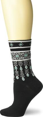 Ozone Womens Bejeweled Cuffs Sock-Black OSFM