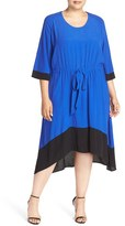 Melissa McCarthy Plus Size Women's Contrast Trim Tie Waist Dress