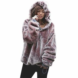Hansee Clearance! Womens Teen Girls Fashion Fluffy Sweatshirt Oversize Hooded Zipper Faux Fur Warm Outwear Coat(Purple S)