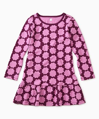Tea Collection Girls' Casual Dresses Floral - Cosmic Berry Floral Ruffle-Hem Drop-Waist Dress - Toddler & Girls