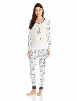 Jane & Bleecker Women's Packaged Long Jane Pajama Set with Screen Print Presents Stars X-Small