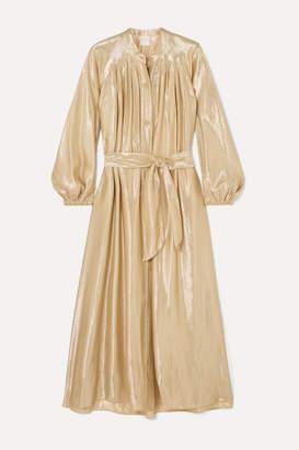 Forte Forte Belted Gathered Silk-blend Lurex Midi Dress - Gold