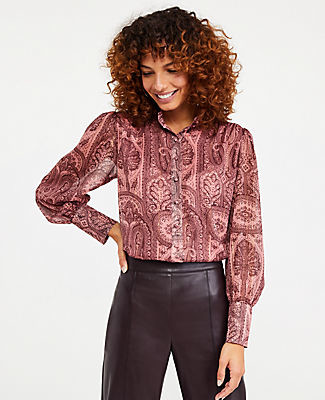 Ann Taylor Paisley Covered Button Mock Neck Blouse