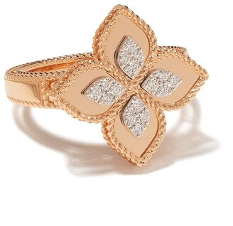 Roberto Coin 18kt rose gold diamond Princess Flower ring