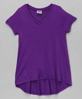 Erge Purple Hi-Low V-Neck Tee - Girls