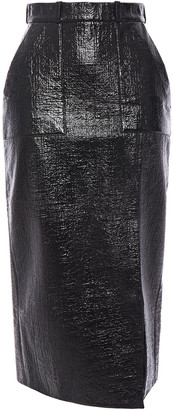 David Koma Coated Cotton-blend Boucle Midi Skirt