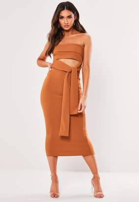 Missguided Brown Cut Out Bandeau Bodycon Midaxi Dress