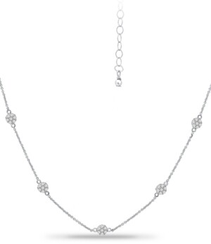 """Giani Bernini Cubic Zirconia Mini-Cluster Statement Necklace, 16"""" + 2"""" extender, Created for Macy's"""