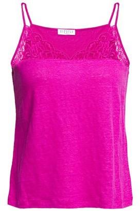 Claudie Pierlot Lace-trimmed Linen-jersey Camisole
