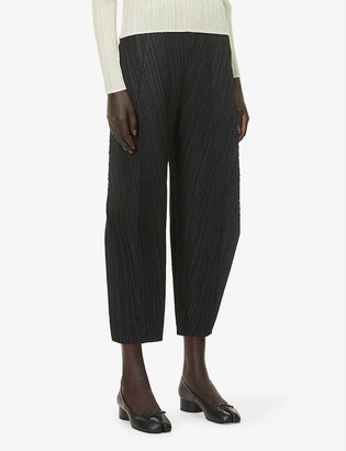 Pleats Please Issey Miyake Pleated tapered-leg high-rise cropped trousers
