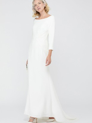 Monsoon Una Bridal Bardot Crepe Lace Maxi Dress