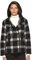 Woolrich Women's Century Hooded Plaid Wool Blend Peacoat