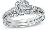 Zales 1/2 CT. T.W. Diamond Frame Bridal Set in 14K White Gold