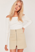 Missguided Zip Front Mini Skirt Nude