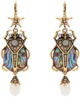 Alexander McQueen Embellished beetle-drop Abalone earrings