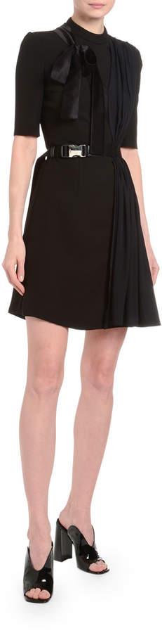 Prada Draped Tech-Twill Crepe Dress