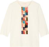 Tory Burch Milano raffia-paneled ribbed-knit tunic