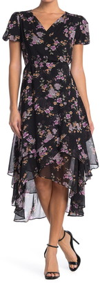 Betsey Johnson Floral Faux Wrap Midi Dress
