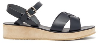 A.P.C. Originales Leather And Suede Platform Sandals - Womens - Navy