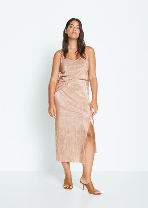 MANGO Asymmetric metallic skirt